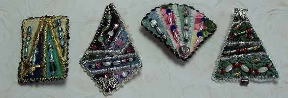 Bead Embellished Art Quilt Pins, Andrus Gardens, Sue Andrus